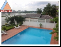 Villa for rent in Thao Dien District 2 view Sai Gon river 400m2 cool, Compound area